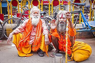 Sadhus begging, in Dashashwamedh Ghat Road , Varanasi, Uttar Pradesh