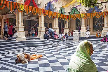 Praying, ISKCON temple, Sri Krishna Balaram Mandir,Vrindavan,Mathura, Uttar Pradesh, India