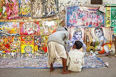 Shop of Krishna images, in Gotam Nagar street (main street),Historical Center,Vrindavan, Mathura, Uttar Pradesh, India