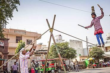 Show, street artist and spontaneous photographer, Street scene, in Historical Center,Vrindavan, Mathura, Uttar Pradesh, India