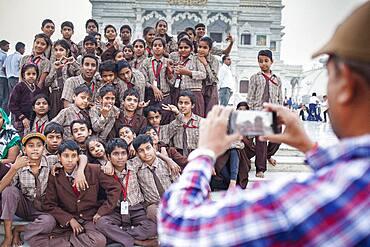 students visiting Prem Mandir ( love temple) Temple of Divine Love, Vrindavan, Mathura, Uttar Pradesh, India