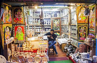 Souvenir shop, Street scene in Gopinath Bazar, Historical Center,Vrindavan, Mathura, Uttar Pradesh, India
