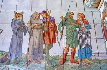 Cardiff Castle, detail of mosaic in the Nursery; representation of Robinhood and his companions, Cardiff, Wales