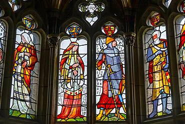 Cardiff Castle, stained glass window, in Banquet Hall, Cardiff, Wales