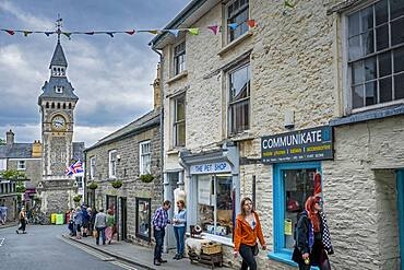 Lion street, in background clock tower, Hay on Wye, Wales