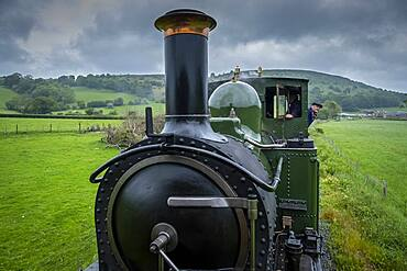 Locomotive and driver, Llanfair and Welshpool Steam Railway, Wales