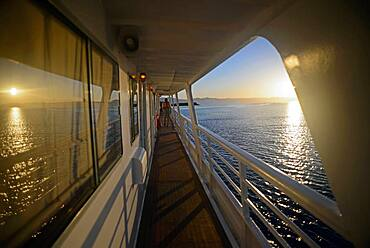 View from boat deck at sunset, Baja California Sur, Mexico