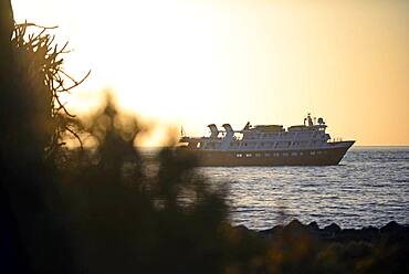 Cruise boat at sunset, Isla San Esteban, Baja California Sur, Mexico