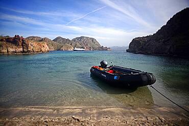 Exploring the Sea of Cortez on a zodiac, Baja California, Mexico