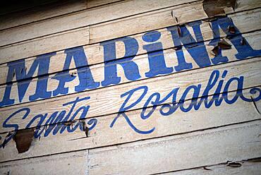 Santa Rosalia Marina wooden sign, Baja California Sur, Mexico