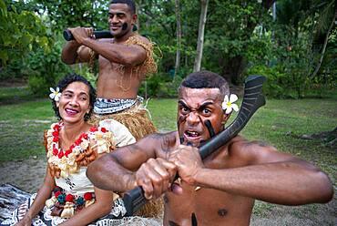 Tradtional Fijian Warriors portrait in Malolo Island Resort and Likuliku Resort, Mamanucas island group Fiji