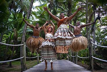 Tradtional Fijian Warriors jumping in Malolo Island Resort and Likuliku Resort, Mamanucas island group Fiji