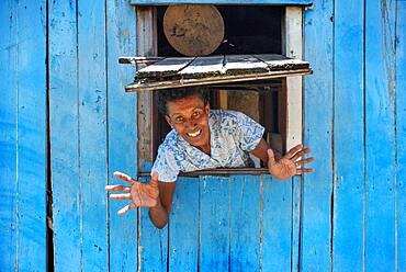 Old Woman in a house in Solevu island and Yaro island in Malolo Island Mamanucas island group Fiji