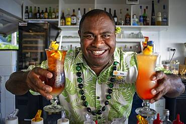 Cocktails in the bar restaurant Malolo Island Resort and Likuliku Resort, Mamanucas island group Fiji