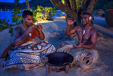 Tradtional Fijian doing a kava ceremony in Malolo Island Resort and Likuliku Resort, Mamanucas island group Fiji