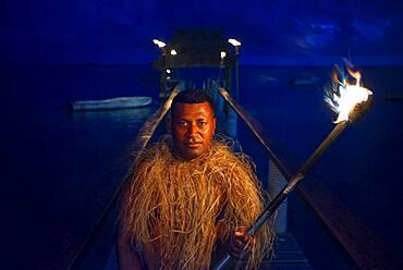 Tradtional Fijian Warrior portrait in Malolo Island Resort and Likuliku Resort, Mamanucas island group Fiji