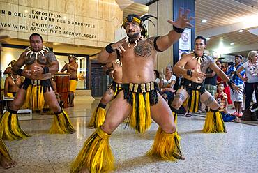 Tahiti Island, touristic reception with music and dances to the Faaa airport Papeete French Polynesia France