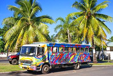 Colorfull public bus in Papeete Tahiti French polynesia