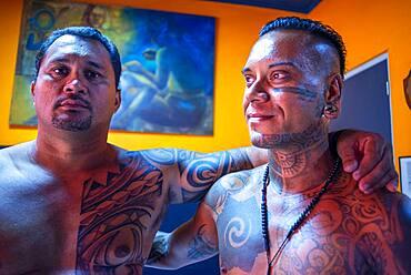 Tahiti Tattoo shop in Papeete city. Tahiti, French Polynesia, Papeete's harbour, Tahiti Nui, Society Islands, French Polynesia, South Pacific.