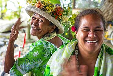 Portrait of a old women in Huahine, Society Islands, French Polynesia, South Pacific.