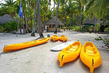 Kayaks in Le Bora Bora by Pearl Resorts luxury resort in motu Tevairoa island, a little islet in the lagoon of Bora Bora, Society Islands, French Polynesia, South Pacific.