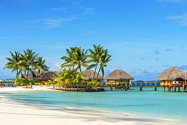 Le Bora Bora by Pearl Resorts luxury resort in motu Tevairoa island, a little islet in the lagoon of Bora Bora, Society Islands, French Polynesia, South Pacific.