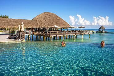 Pool of the Luxury Hotel Kia Ora Resort & Spa on Rangiroa, Tuamotu Islands, French Polynesia.