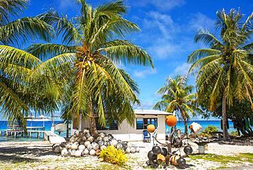 Local house of fishers in Fakarava,  Tuamotus Archipelago French Polynesia, Tuamotu Islands, South Pacific.