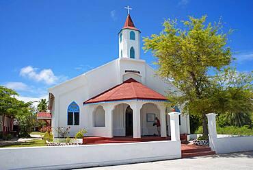 Rotoava church in Fakarava, Tuamotus Archipelago French Polynesia, Tuamotu Islands, South Pacific.