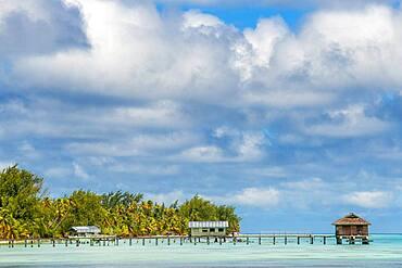 Small pier in Fakarava, Tuamotus Archipelago French Polynesia, Tuamotu Islands, South Pacific.