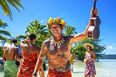 Island of Taha'a, French Polynesia. Polynesian music and dances at the Motu Mahana, Taha'a, Society Islands, French Polynesia, South Pacific.