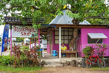Pearls stall shopping center at Moorea, French Polynesia, Society Islands, South Pacific. Cook's Bay.