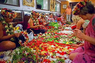 Flowers decoration workshop in the Paul Gauguin cruise ship. France, French Polynesia, Polynesian, South Pacific.