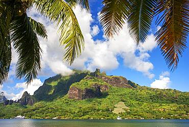 Hanse explorer private cruise anchored in Moorea, French Polynesia, Society Islands, South Pacific.