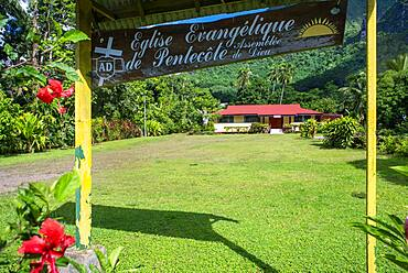 Pentecost Evangelical church in Moorea, French Polynesia, Society Islands, South Pacific.