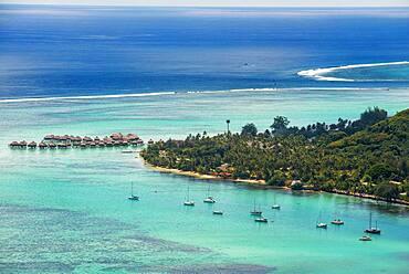 Moorea island french polynesia lagoon aerial view panorama. reef see, Moorea island (aerial view), Windward Islands, Society Islands, French Polynesia, Pacific Ocean. landscape