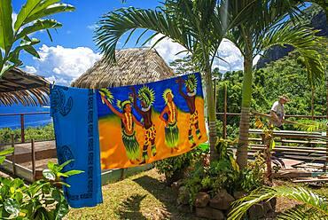 Colourful Polynesian Pareo or Sarong for Sale in a Tourist Gift Shop in Vaitape, Bora Bora, French Polynesia
