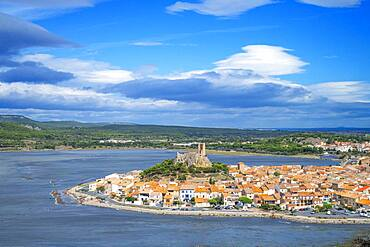 View of the watchtower at Gruissan in Languedoc-Roussillon, France, Aude, Gruissan, village in Circulade testifies of a Medieval origin, strategic sign of defense and Christian symbol