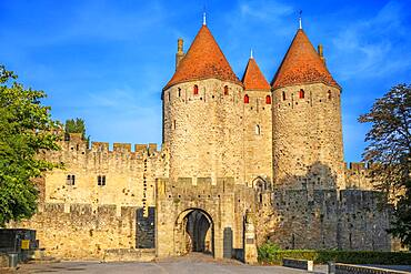 Fortified City of Carcassonne, medieval city listed as World Heritage by UNESCO, harboure d'Aude, Languedoc-Roussillon Midi Pyrenees Aude France