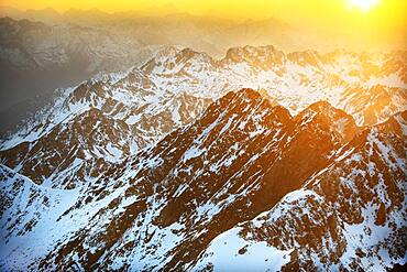 Sunset Mountain views in front of The Observatory Of Pic Du Midi De Bigorre, Hautes Pyrenees, Midi Pyrenees, France. The Col du Tourmalet is the highest paved mountain pass in the French Pyrenees second only to the Col de Portet. So in contrast to frequent claims.