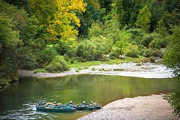 Canoes in La Malene village in Gorges du Tarn. UNESCO World Heritage Site. Grands Causses Regional Natural Park. Lozere. Occitanie. France.
