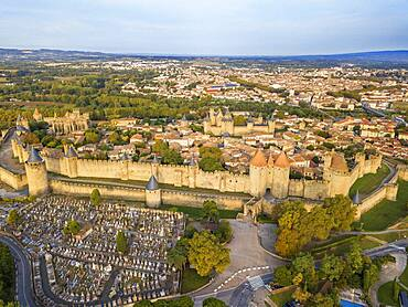 Aerial view of Carcassonne, medieval city listed as World Heritage by UNESCO, harboure d'Aude, Languedoc-Roussillon Midi Pyrenees Aude France