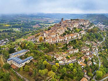 Aerial view of Cordes sur Ciel, labelled The Most Beautiful Villages of France, Tarn, Occitanie, France