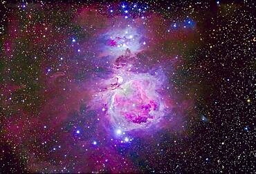 The Orion Nebula complex consisting of M42, M43 and the reflection nebula area known as the Running Man Nebula, NGC 1973-5-7. NGC 1981 is the blue star cluster at top north edge. North is up, though in the sky from Australia where this was shot the object appeared upside down compared to this northern-centric view.
