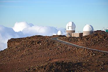 University of Hawaii telescopes on the summit of Haleakala volcano, Maui, Hawaii, USA