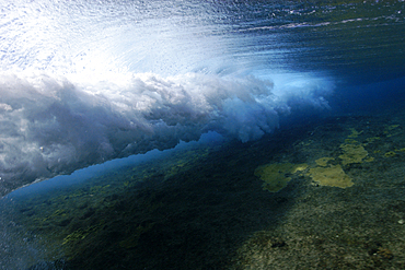 Wave breaking over shallow coral reef, Ailuk atoll, Marshall Islands, Pacific