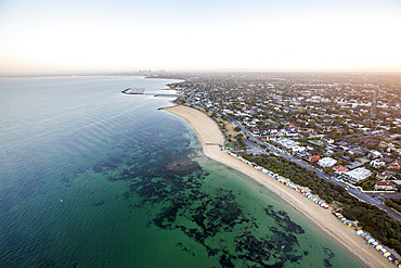 Brighton beach looking towards the Melbourne CBD.