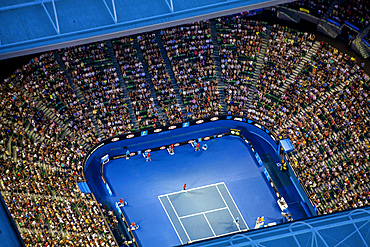 Dusk aerial view of the Australian Open Tennis tournament. At Rod Laver Arena.