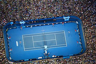 Dusk aerial view of the Australian Open Tennis tournament, Rod Laver Arena.