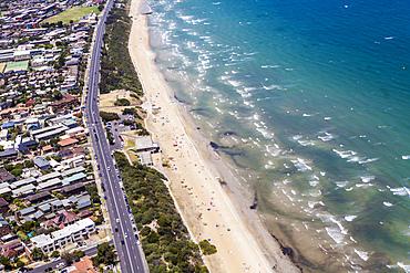 Aerial view of Mentone Beach, Melbourne, Australia